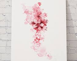 cherry blossom flowers set of 4 watercolor prints pink home