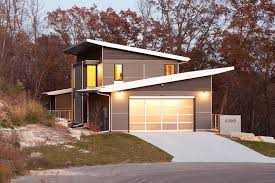 Slanted Roof House Cathedral Roof Trusses Exterior Modern With Gray Siding Slanted Roof