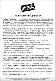 maintenance supervisor mccain foods rice lake wi