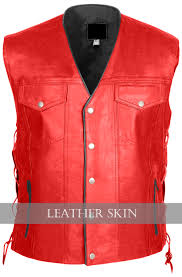 motorcycle vest nwt men women unisex motorcycle biker genuine red with black