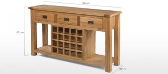 console table dimensions rustic oak wine rack consoles tables