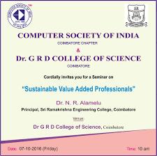 Invitation Card Format For Seminar Computer Society Of India Coimbatore Chapter Coimbatore