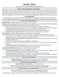 Fake Work Experience Resume Entertainment Manager Resume Example Music Artist Management