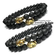mens black beaded bracelet images 1 piece black matte onyx beaded bracelet with gold buddha head jpg