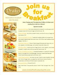 breakfast drakes fine food u0026 spirits