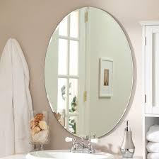 bathroom wall mirror oval beveled vanity bedroom round mount
