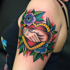 heart and flowers tattoo traditional heart and shaking hands tattoo by samuele briganti