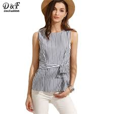 sleeveless tie neck blouse dotfashion blouses casual striped zipper back tie waist