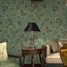 green wallpaper home decor vinyl vintage country style wallpaper for living room floral wall