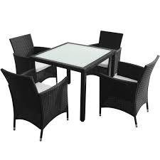 Rattan Garden Furniture White Vidaxl Black Poly Rattan Garden Furniture Set 1 Table 4 Chairs
