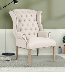 buy maverick classy high back wing chair in off white colour by