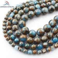 natural bead necklace images Camdoe danlen natural stone beads gold blue colored cloisonne jpg