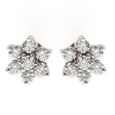 diamond stud earrings uk 18ct white gold 0 64ct flower cluster diamond stud earrings