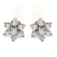flower stud earrings 18ct white gold 0 64ct flower cluster diamond stud earrings