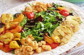 grilled shrimp and fruit salad and a summer luncheon syrup and