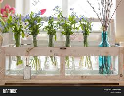 bouquets of blue and pink colors in glass vases spring flowers