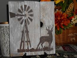 windmill and buck painted on reclaimed rustic wood 12