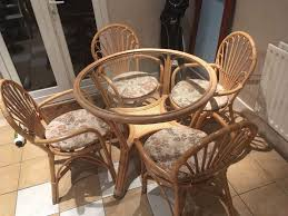 vintage bamboo and glass dining round table and 4 chairs in