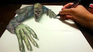 amazing anamorphic drawing illusion 2 zombie youtube