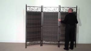 Wicker Room Divider Versare 3 Panel Wicker Partition Steel Frame Youtube