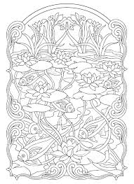 fish pond animals coloring pages for adults justcolor