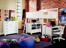 girls full size loft bed with desk and storage in classy white of