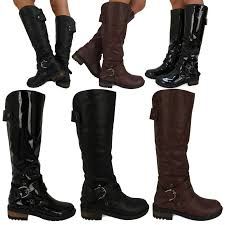 womens biker boots fashion d9z new womens ladies fashion winter mid calf under knee biker