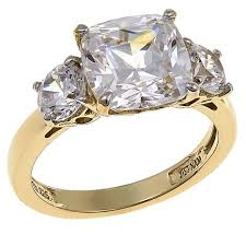 zirconia stone rings images Absolute 4 50ctw cubic zirconia cushion and round 3 stone ring jpg
