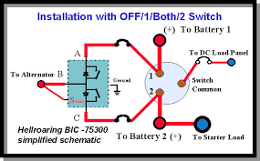 4 way switch schematic with dedicated starter battery for marine