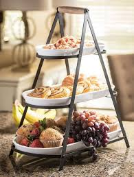 3 tier serving stand new 3 tier buffet server 3 stoneware serving platter trays metal
