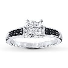 black and white engagement rings black white diamonds 1 2 ct tw engagement ring 10k white gold