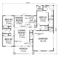 floor plan for affordable 1 100 sf house with 3 bedrooms and 2