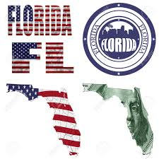 Florida State Flag Image Florida State Collage Map Stamp Word Abbreviation In Different