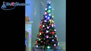 6 ft pre lit colour fibre optic christmas tree led snowflakes and