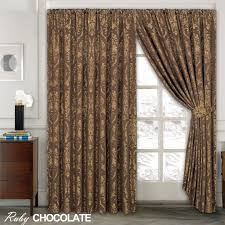Pencil Pleat Curtains Luxury Jacquard Curtains Fully Lined Ready Made Top Pencil