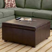 nice brown leather large square storage ottoman of amazing large