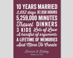 ten year wedding anniversary gift 10 year anniversary etsy