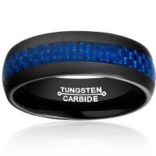 cincin tungsten carbide new arrival 8mm wedding rings high polished blue carbon fiber