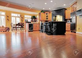 Interior Of A Kitchen Home Interior Shows A Large Expanse Of Wood Flooring In The