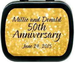 anniversary favors 50th wedding anniversary favors golden mint tins