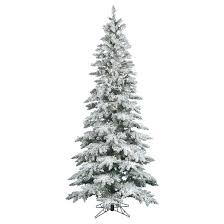 7 5ft pre lit artificial tree white flocked slim clear