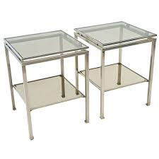 Chrome And Glass Coffee Table Side Table Chrome Metal Glass Round Side End Table Chrome Glass