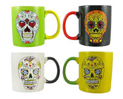 amazon com set of 4 day of the dead sugar skull ceramic coffee