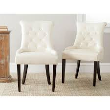 safavieh harlow flat cream bicast leather side chair set of 2
