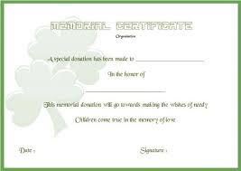donation in memory of certificate template donation certificate