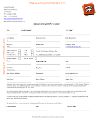 front desk guest registration card sample