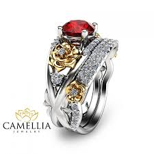 ruby wedding rings flower design ruby engagement ring set 14k two tone gold rings