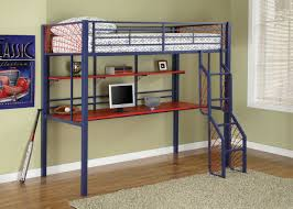blue color metal frame cabin bed with desk under using red painted