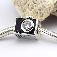 black pandora charm bracelet images Fits for pandora charms bracelets camera beads with black enamel jpg