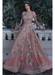 v neck sleeveless champagne pink prom dresses 2018 appliques beads